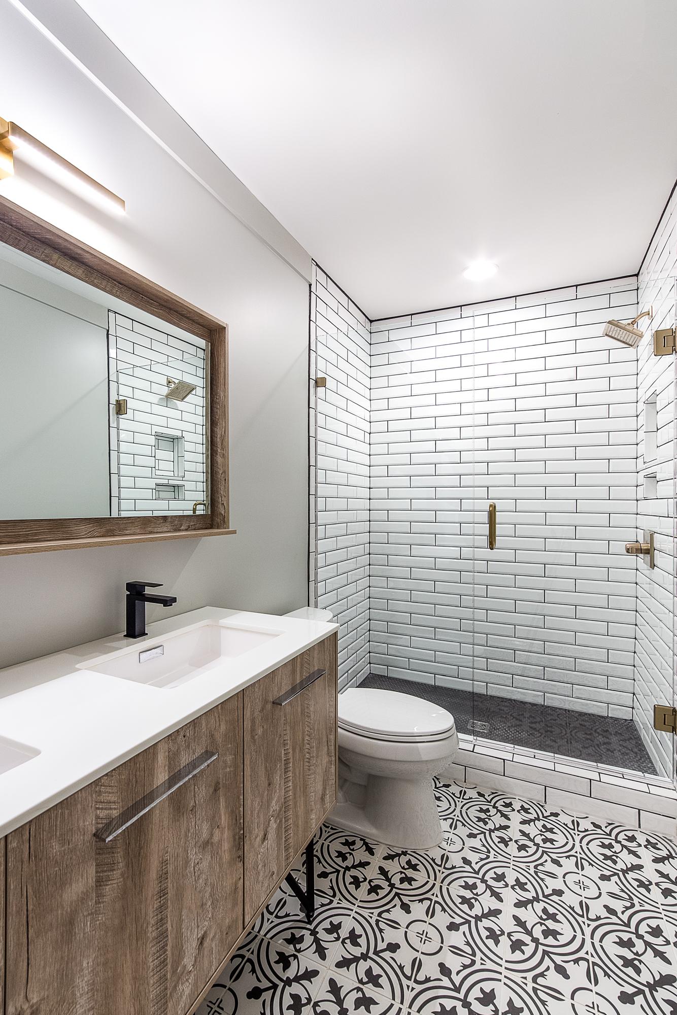 Modern basement bathroom remodel