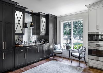 Transitional White Kitchen Remodel with Black Bar Cabinetry