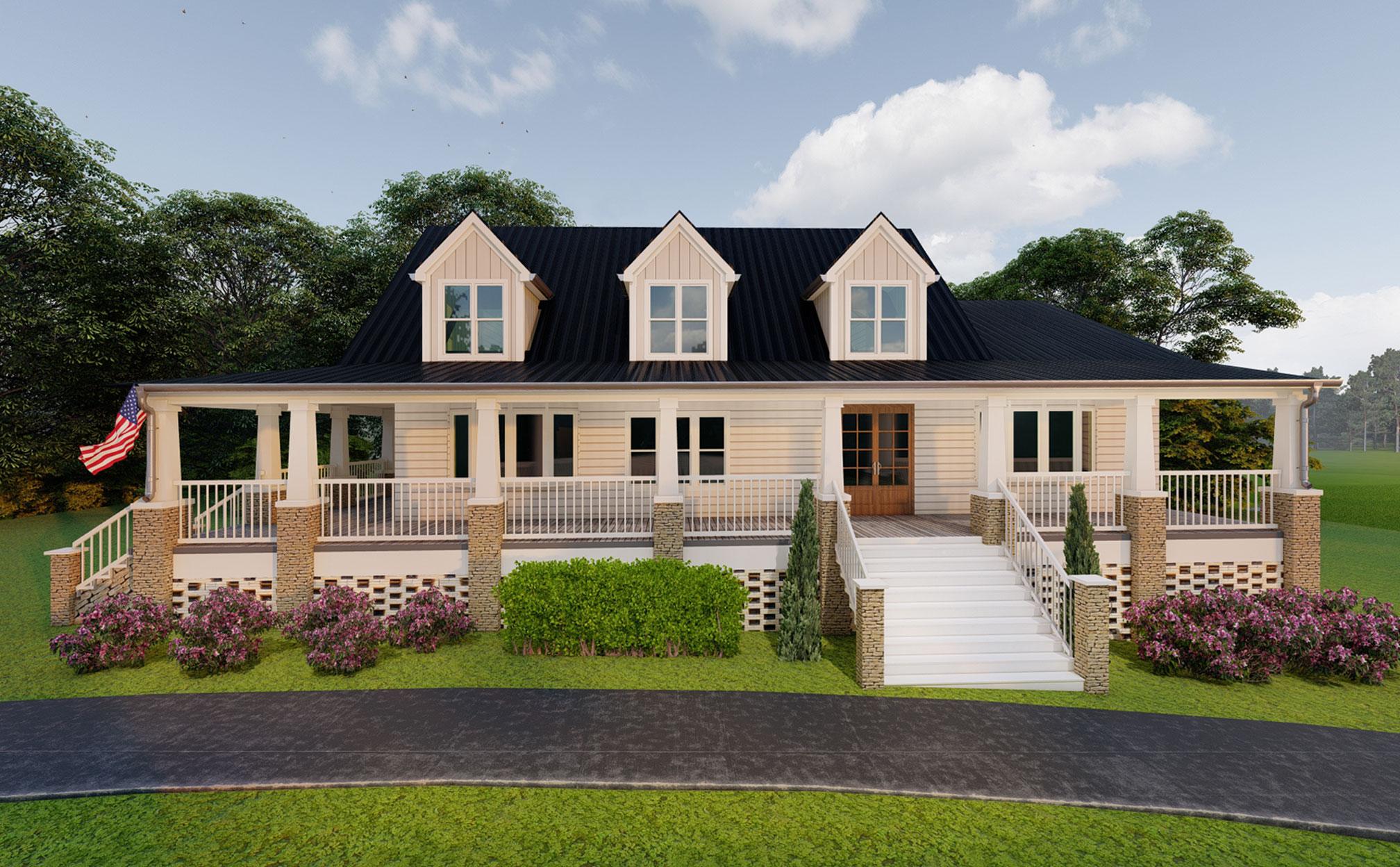 render after exterior home remodel design